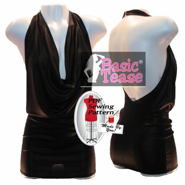 Cowl neck dress pdf sewing pattern