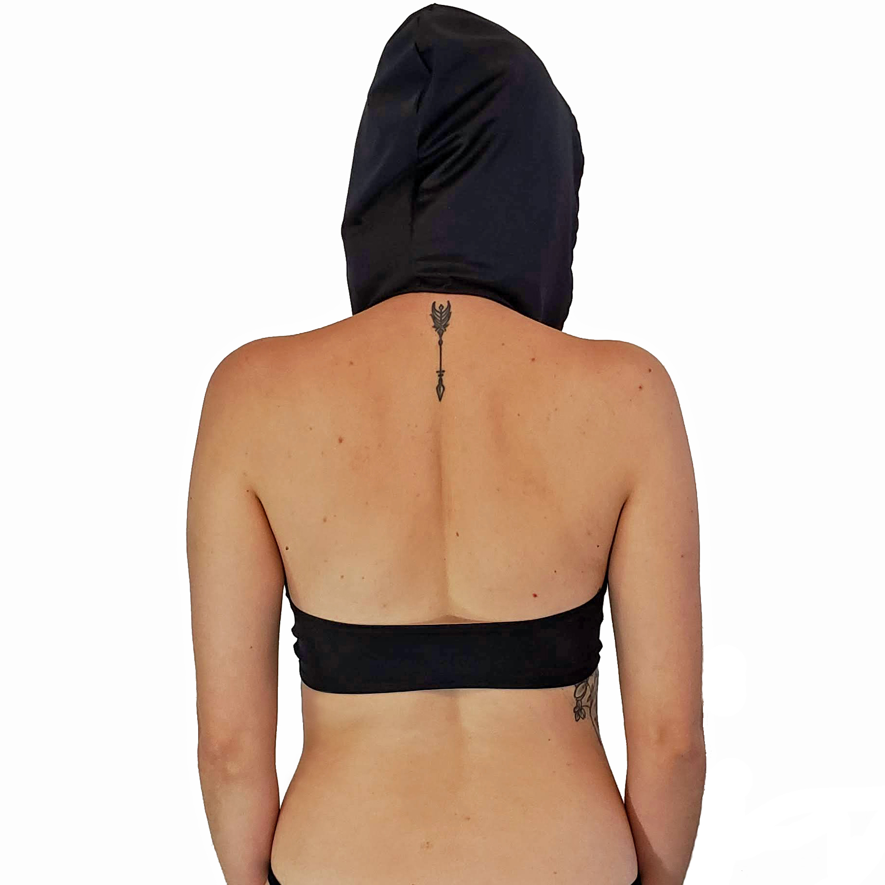 back view of tie front top with hood sewing pattern